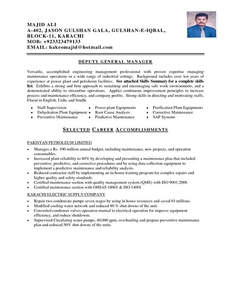 maintenance officer resume format mechanical maintenance engineer resume sle sidemcicek