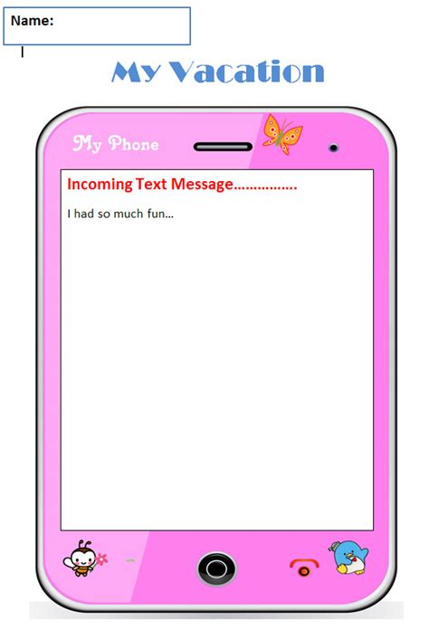 Common Core Graphic Organizer Narrative My Vacation Text Message Template For Students