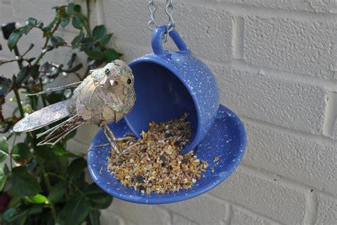Handmade Bird Feeder - tea cup bird feeder handmade from a vintage pottery blue