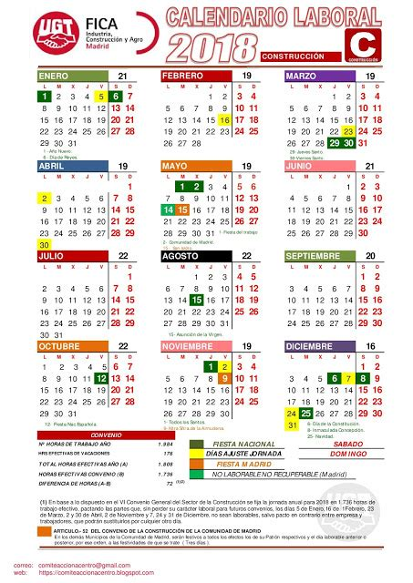 Calendario Laboral 2018 Cordoba Comit 201 Acciona Centro Calendario Laboral 2017