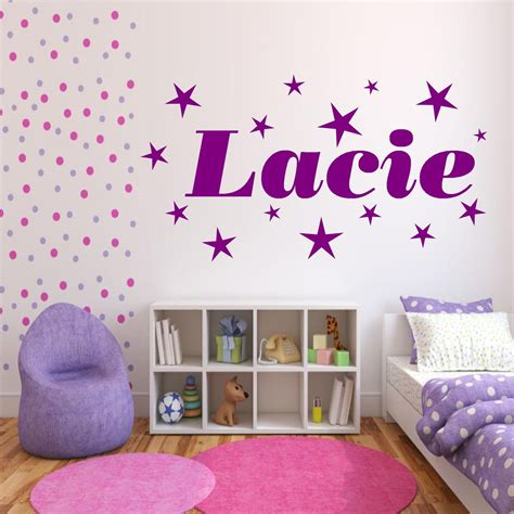 Personalised Stars Name Girls Bedroom Wall Art Stickers