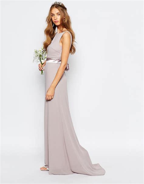 Embelished Bow Dress Minimal tfnc bow back crepe maxi dress in purple lyst