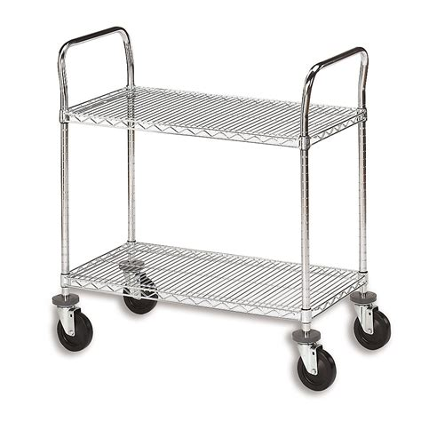 Wire Shelf Cart by Olympic Chrome Wire Utility Carts 60 Quot Wx18 Quot D Shelf 2