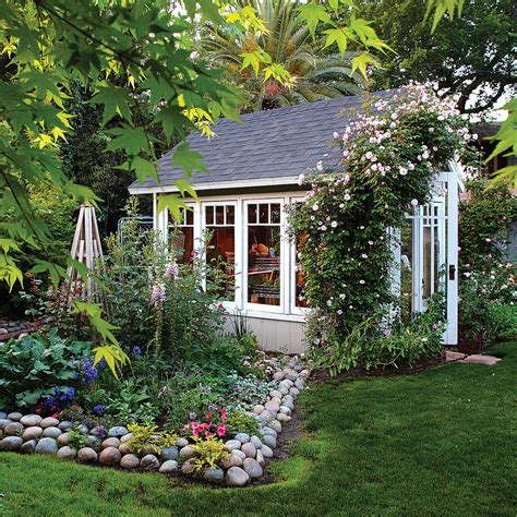 cottage backyard garden greenhouse shed sunset