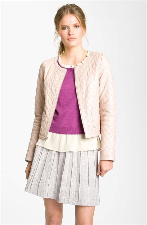 Hinge Quilted Leather Jacket hinge quilted leather jacket in pink pink lyst