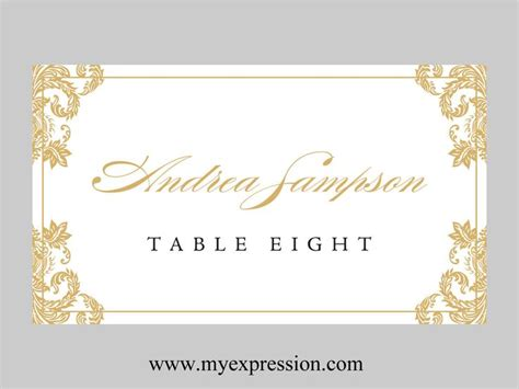 wedding place cards template folded gold damask
