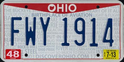 Ohio License Plate Sticker Colors