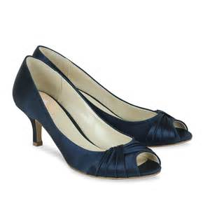 Navy blue satin shoes wedding shoes crystal bridal accessories