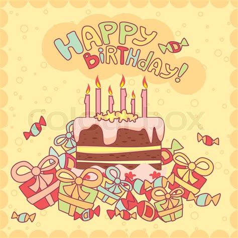 Home Decoration Gifts by Happy Birthday Card With Cake Candles And Gifts Stock