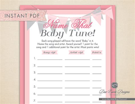Baby Shower Songs by Items Similar To Instant Pdf Name That Baby Tune Pink Printable Baby Shower