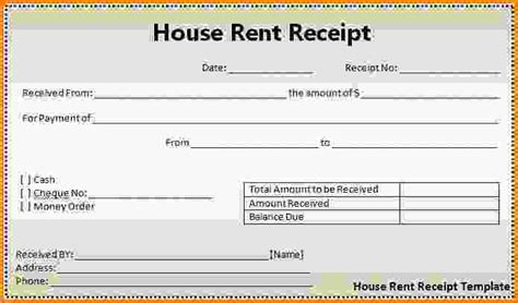 6 printable rent receipt letter template word
