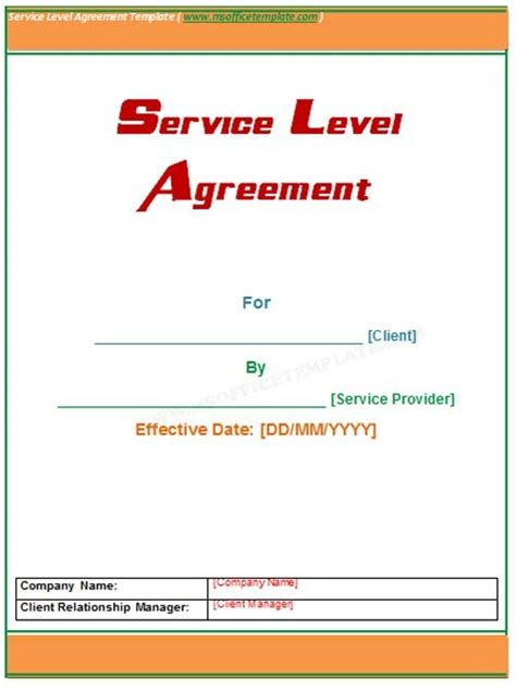 service level template microsoft office templatesservice level agreement template