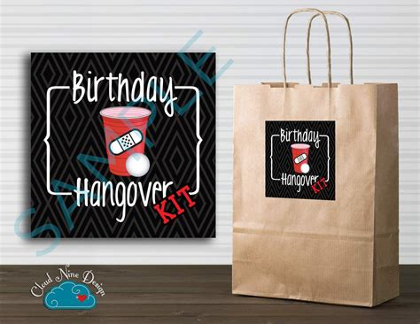 printable hangover kit tags birthday hangover kit sticker instant download printable