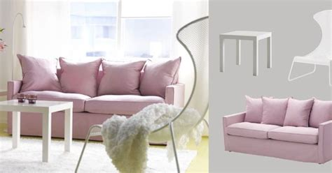 ikea ps 2012 sofa h 196 rn 214 sand three seat sofa with olstorp light pink cover
