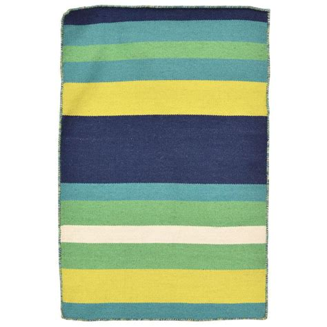 Tasso Bright Stripe Green 2 Ft X 3 Ft Rectangle Indoor Bright Outdoor Rugs