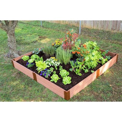 composite raised garden bed shop frame it all 96 in w x 96 in l x 11 in h brown composite raised garden bed at