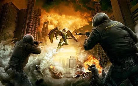 wallpaper games scene police  demon invasion