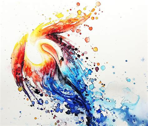 watercolor tattoo orange county white swan with orange and blue splashed watercolor wings