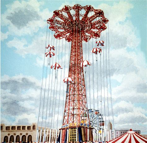 Home Decor Brooklyn by Parachute Jump In Coney Island New York Painting By Bonnie
