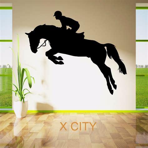 Aufkleber Pferd Silhouette by Jumping Show Rider Jockey Sport Silhouette Wall