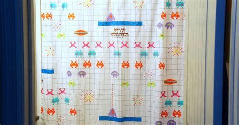 space invaders shower curtain i d l e w i f e diy shower curtain