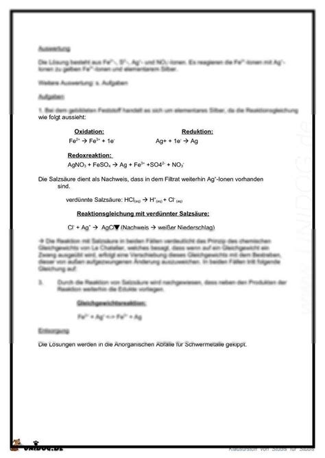 Protokoll Schreiben Muster Chemie Unidog 4 Protokoll Das Chemische Gleichgewicht