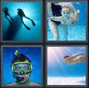 4 Letter Words Using Water 4 pics 1 word answer for scuba baby goggles swimming