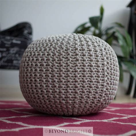 knitted gumball light grey made poof pouffe ottoman