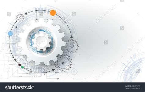 futuristic technology illustration stock images image vector futuristic technology 3d white paper gear wheel on