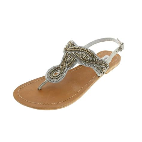 beaded sandal steve madden new shiekk silver leather beaded flats