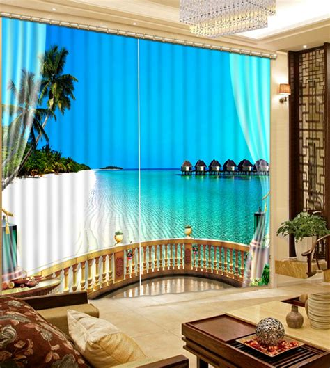 scenery window curtains beach scenery bedding room 3d curtains 3d window curtains