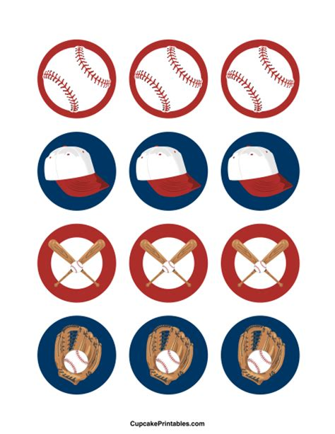 printable baseball tags baseball cupcake toppers use the circles for cupcakes