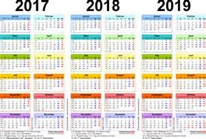 Kalender 2017 En 2018 Dreijahreskalender 2017 2018 2019 Als Word Vorlagen Zum