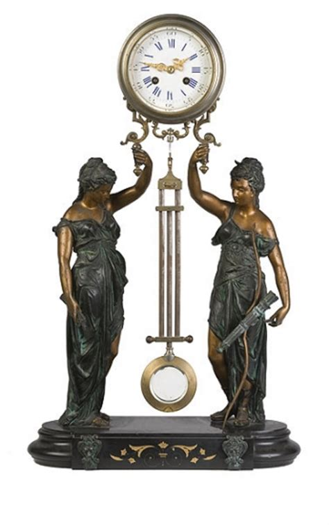 swinging clock fine french mystery swinging arm double statue clock