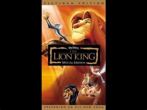 lion film opening opening to the lion king special edition 2003 vhs youtube