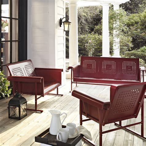 Vintage Metal Porch Furniture reproduction inventory vintage metal gliders fashioned metal chairs and retro metal tables
