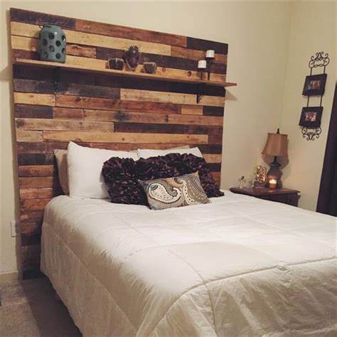 diy pallet headboard with decorative shelf wooden pallet