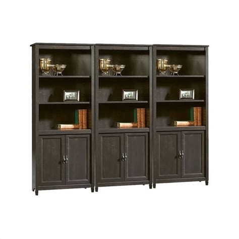 black library bookcase sauder edge water library wall estate black bookcase ebay