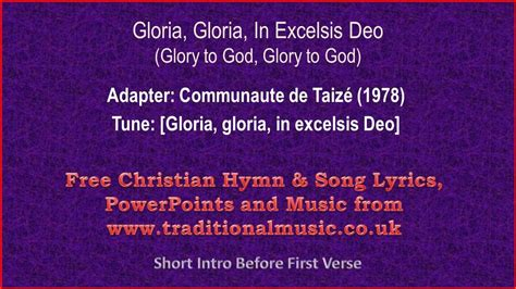 gloria testo gloria in excelsis deo the greater doxology hymn lyrics