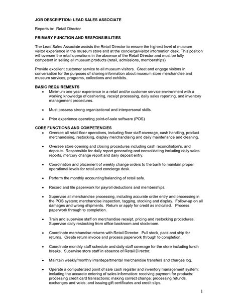 Resume Sles For Descriptions Resume Retail Sales Associate Description Sales Associate Description Pdf