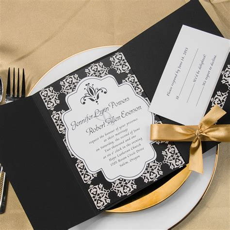 Simple Gold Wedding Invitations by Wedding Invitations Simple Damask Black Pocket Gold