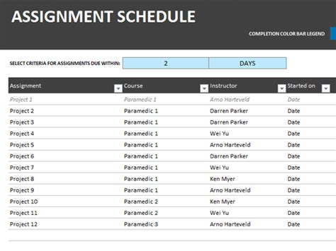 assignment schedule office templates