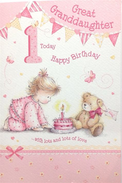 1st Birthday Cards For Granddaughter Great Granddaughter Age 1 1st Birthday Card Special