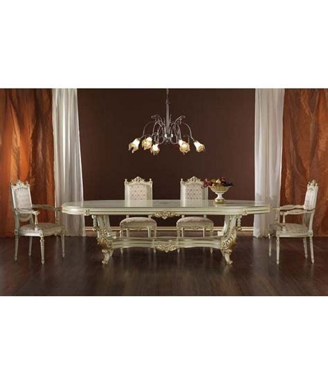 Classic 6 Seater Dining Set With Oval Shaped Table Furniture Oval Shape Teak Wood 6 Seater Luxury Dining Table Set White Buy