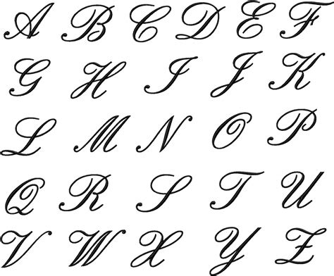 english alphabet in different style tattoo lettering