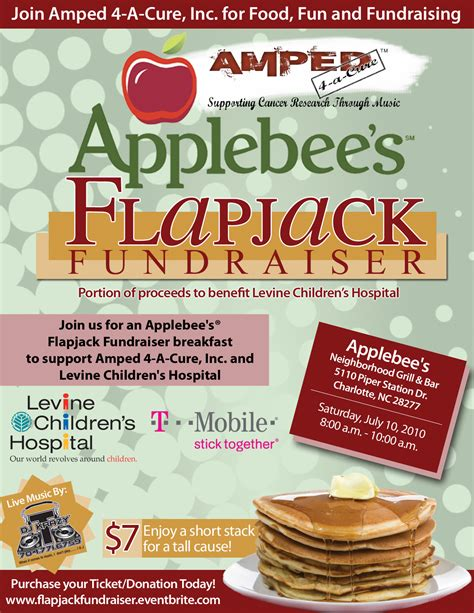 Save The Date Amped 4 A Cure Presents Applebee S Flapjack Fundraiser 7 10 Jsw Media Group Pancake Fundraiser Flyer Template