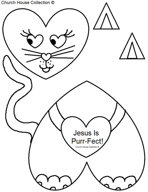 jesus valentine coloring page church house collection blog jesus is purr fect kitty