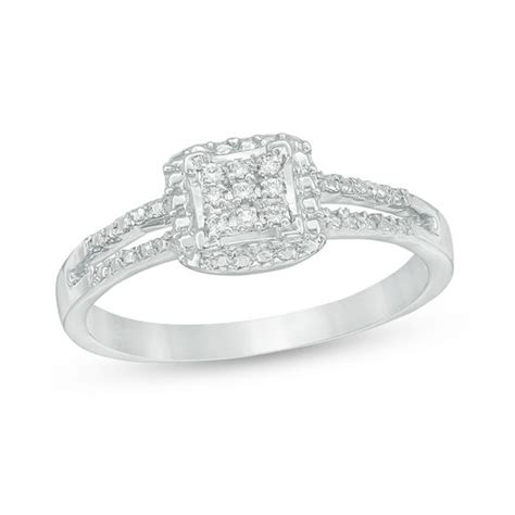 composite accent square promise ring in 10k white