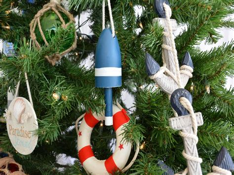 buy wooden blue lobster trap buoy christmas tree ornament