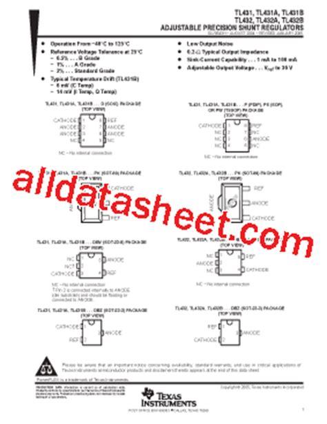 transistor w431 datasheet tl431 datasheet pdf instruments